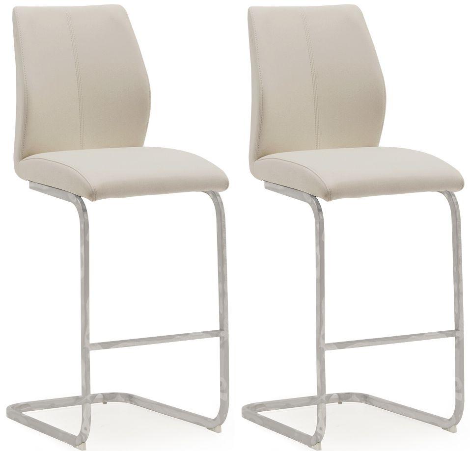 Vida Living Elis Bar Chair (Pair) - Taupe Faux Leather