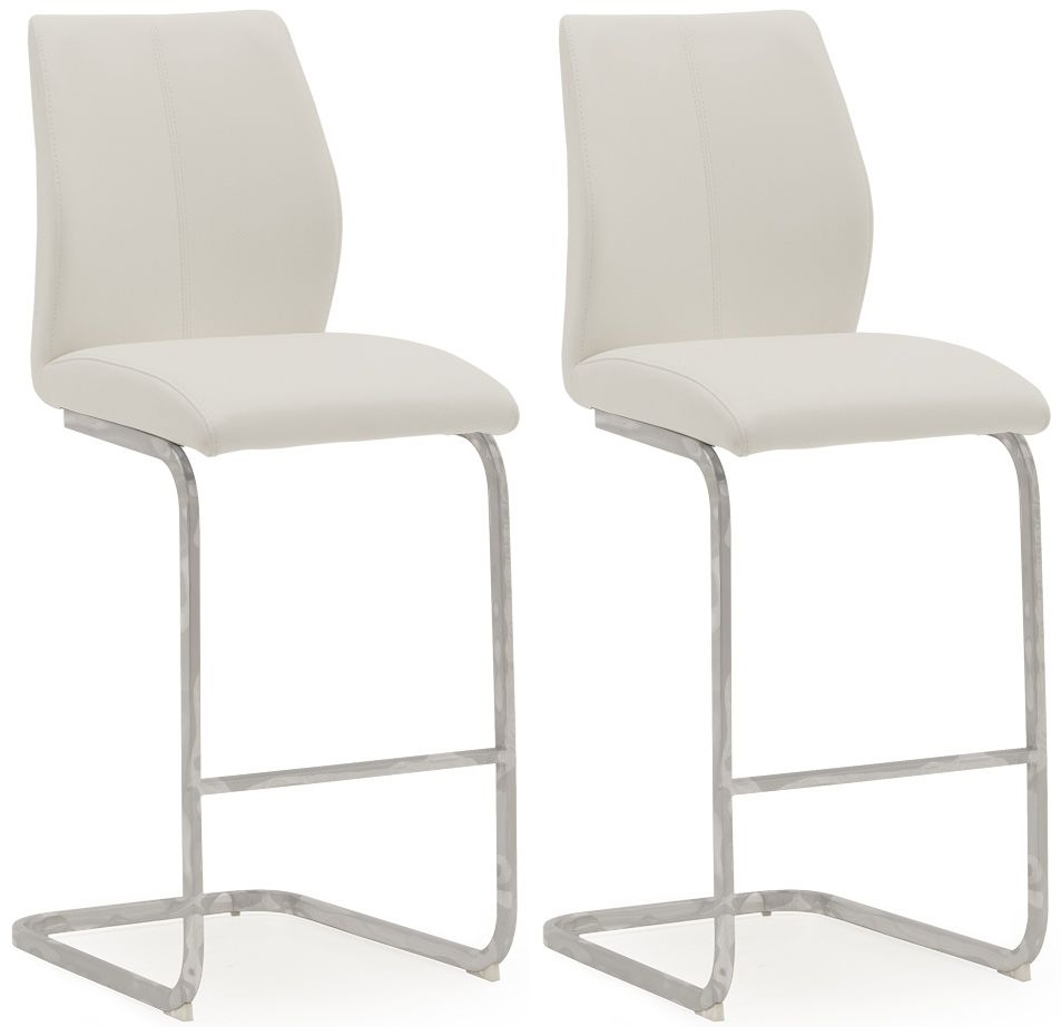 Vida Living Elis White Faux Leather Bar Chair (Pair)