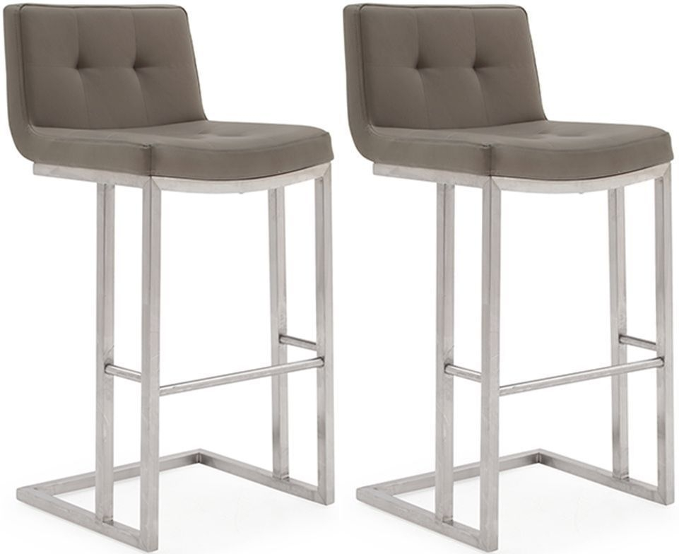 Vida Living Elstra Brown Faux Leather Barstool (Pair)