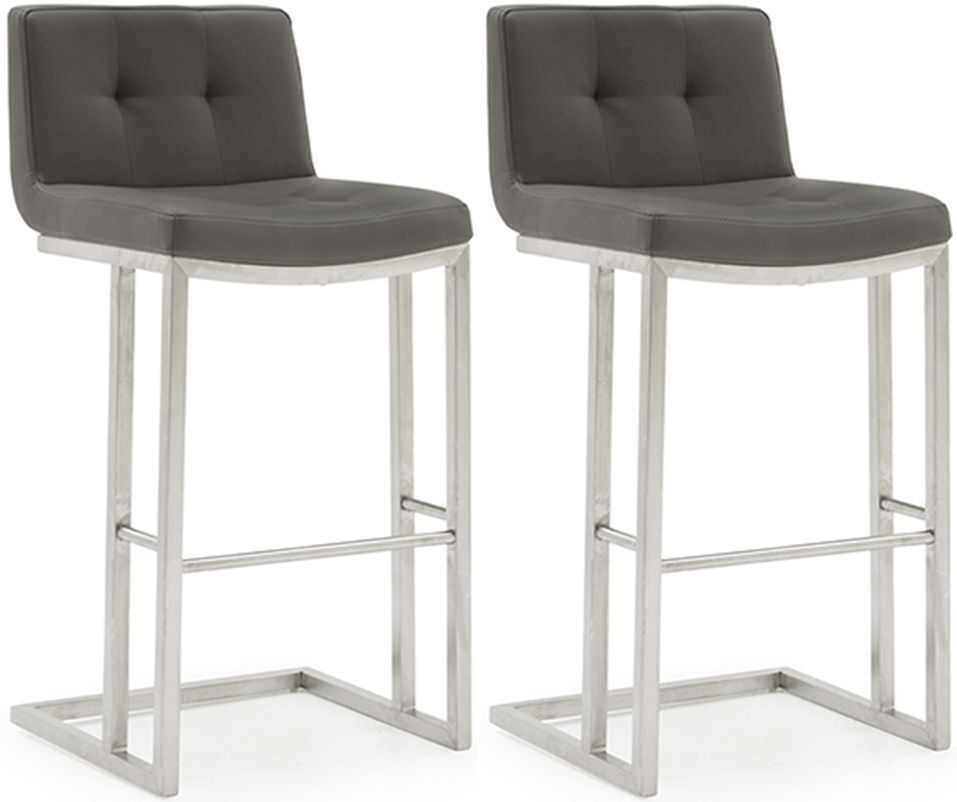 Vida Living Elstra Grey Faux Leather Barstool (Pair)