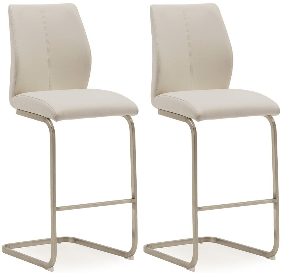 Vida Living Irma Taupe Faux Leather Barstool (Pair)