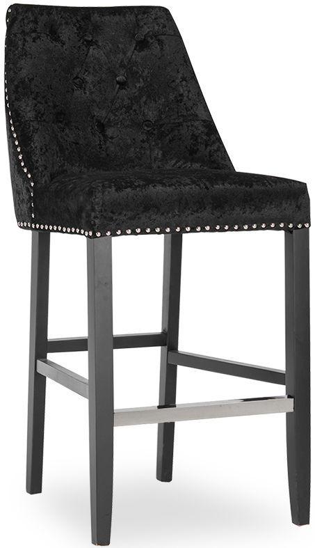 Vida Living Lovell Black Crushed Velvet Knockerback Bar Chair