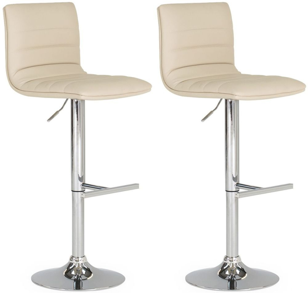 Vida Living Retro Cream Leather Bar Stool (Pair)