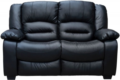 Vida Living Barletto 2 Seater Leather Fixed Sofa - Black