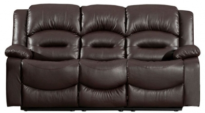 Vida Living Barletto 3 Seater Leather Fixed Sofa - Brown