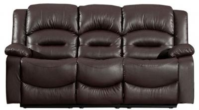 Vida Living Barletto Brown Leather 3 Seater Fixed Sofa