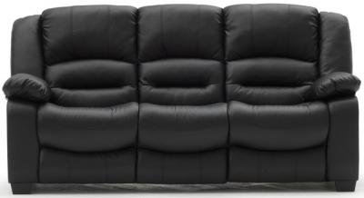 Vida Living Barletto Black Faux Leather 3 Seater Fixed Sofa