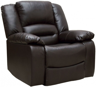 Vida Living Barletto Brown Faux Leather Recliner Chair