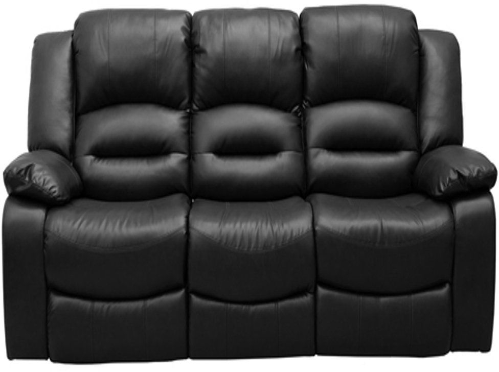 Vida Living Barletto Black Leather 3 Seater Fixed Sofa