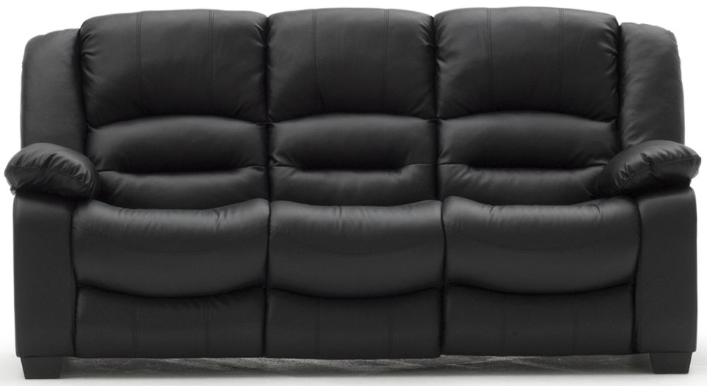 Vida Living Barletto Black Faux Leather 3 Seater Fixed Sofa