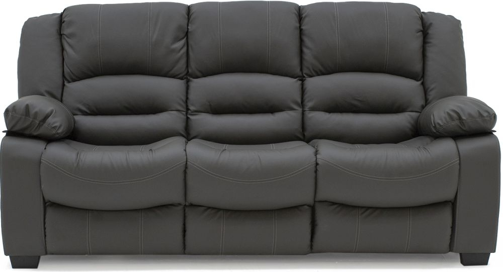 Vida Living Barletto Grey Faux Leather 3 Seater Fixed Sofa