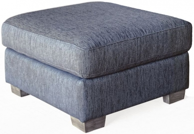 Vida Living Beckett Blue Fabric Ottoman