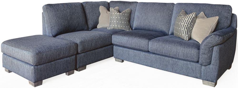 Vida Living Beckett Blue Fabric Left Hand Facing Corner Sofa
