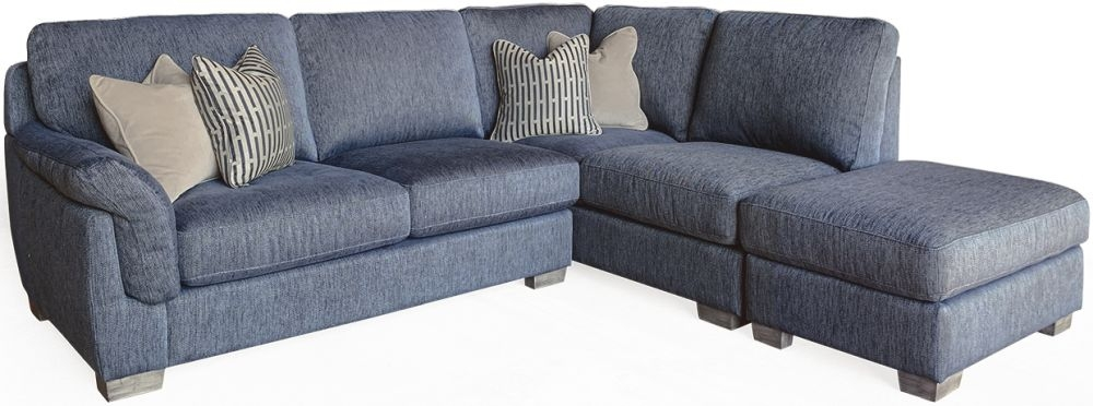 Vida Living Beckett Blue Fabric Right Hand Facing Corner Sofa