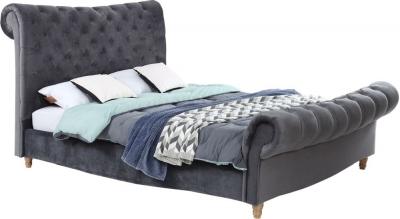 Vida Living Sloane Grey Velvet Fabric Bed