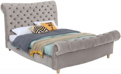 Vida Living Sloane Subtle Mink Velvet Fabric Bed