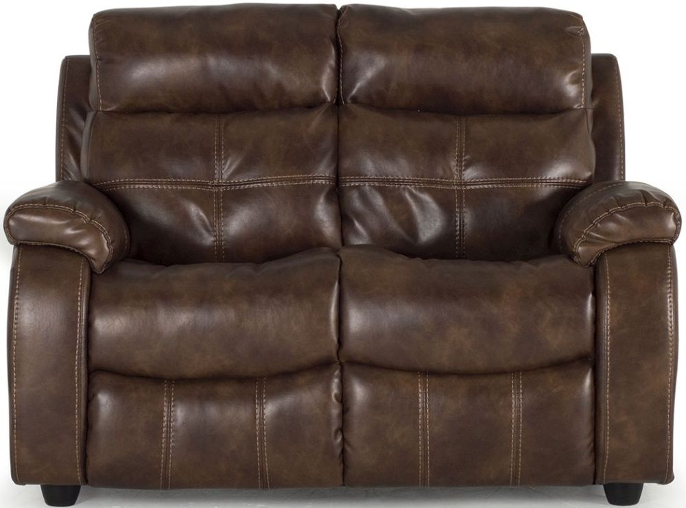 Vida Living Bellini Banor Chestnut 2 Seater Fixed Leather Sofa