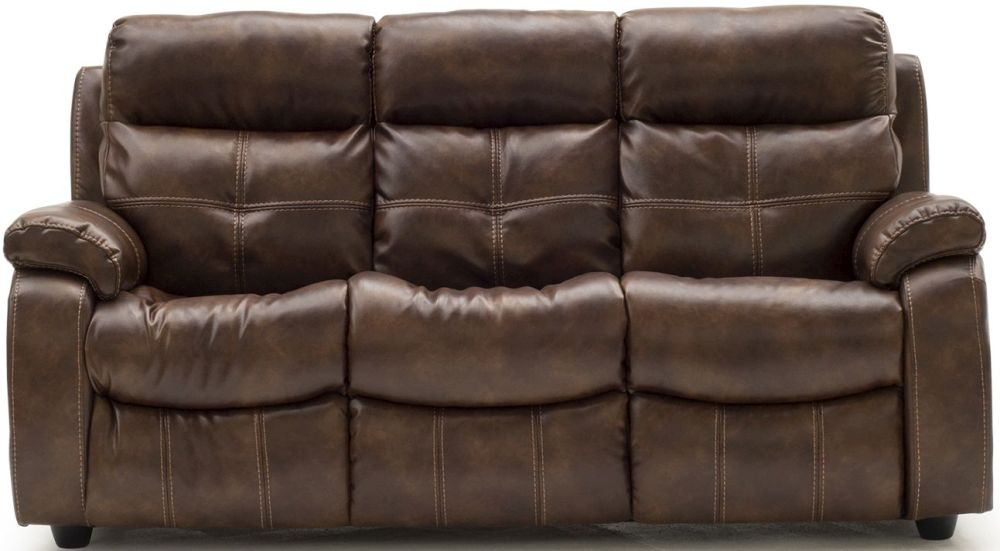 Vida Living Bellini Banor Chestnut Leather 3 Seater Fixed Sofa