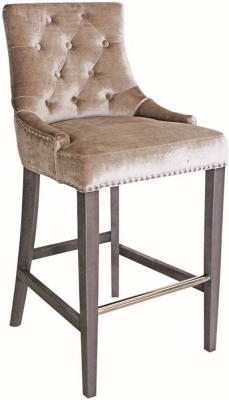 Vida Living Belvedere Champagne Velvet Knockerback Bar Chair