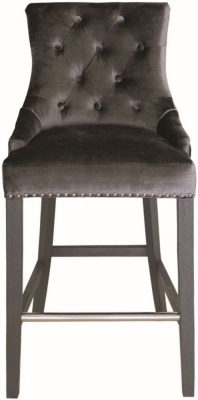 Vida Living Belvedere Charcoal Velvet Knockerback Bar Chair