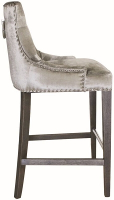 Vida Living Belvedere Pewter Velvet Knockerback Bar Chair
