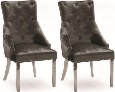 Vida Living Belvedere Knockerback Dining Chair (Pair) - Charcoal Velvet