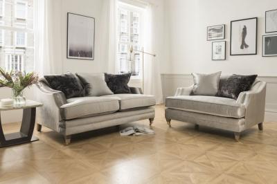 Vida Living Belvedere Pewter Velvet 2 Seater Sofa with 3 Scatter