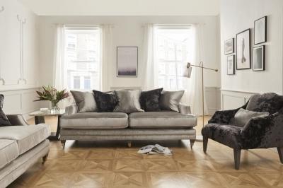 Vida Living Belvedere Pewter Velvet 4 Seater Sofa with 5 Scatter