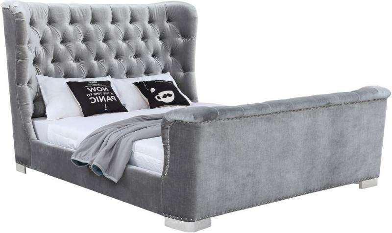 Vida Living Belvedere Pewter Velvet Bed