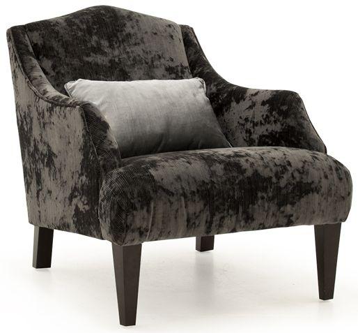 Vida Living Belvedere Charcoal Velvet 1 Bolster Accent Chair