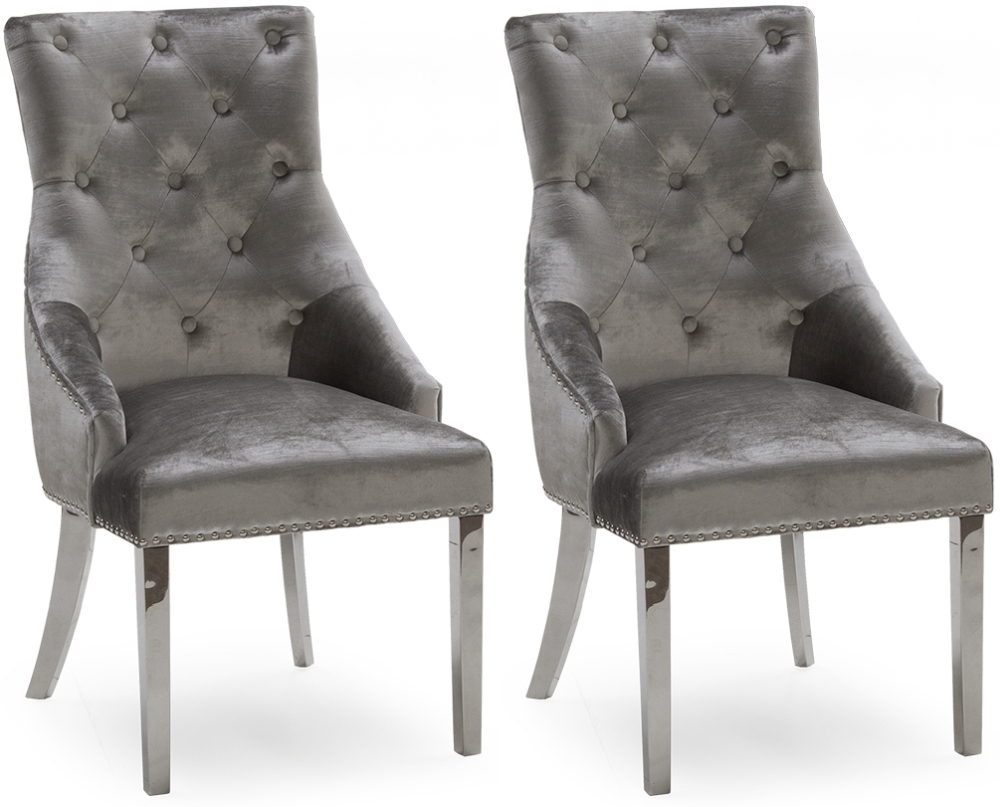 Vida Living Belvedere Pewter Velvet Knockerback Dining Chair (Pair)