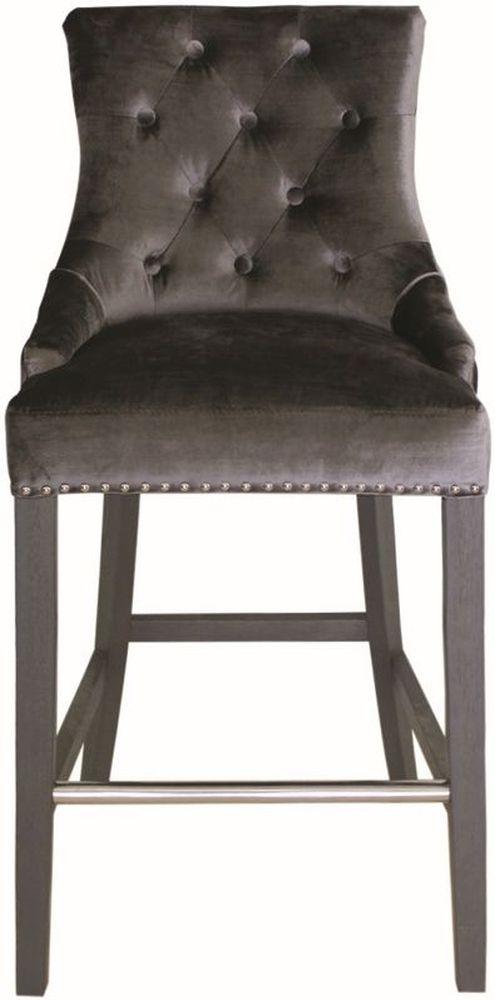 Vida Living Belvedere Knockerback Bar Chair - Charcoal Velvet