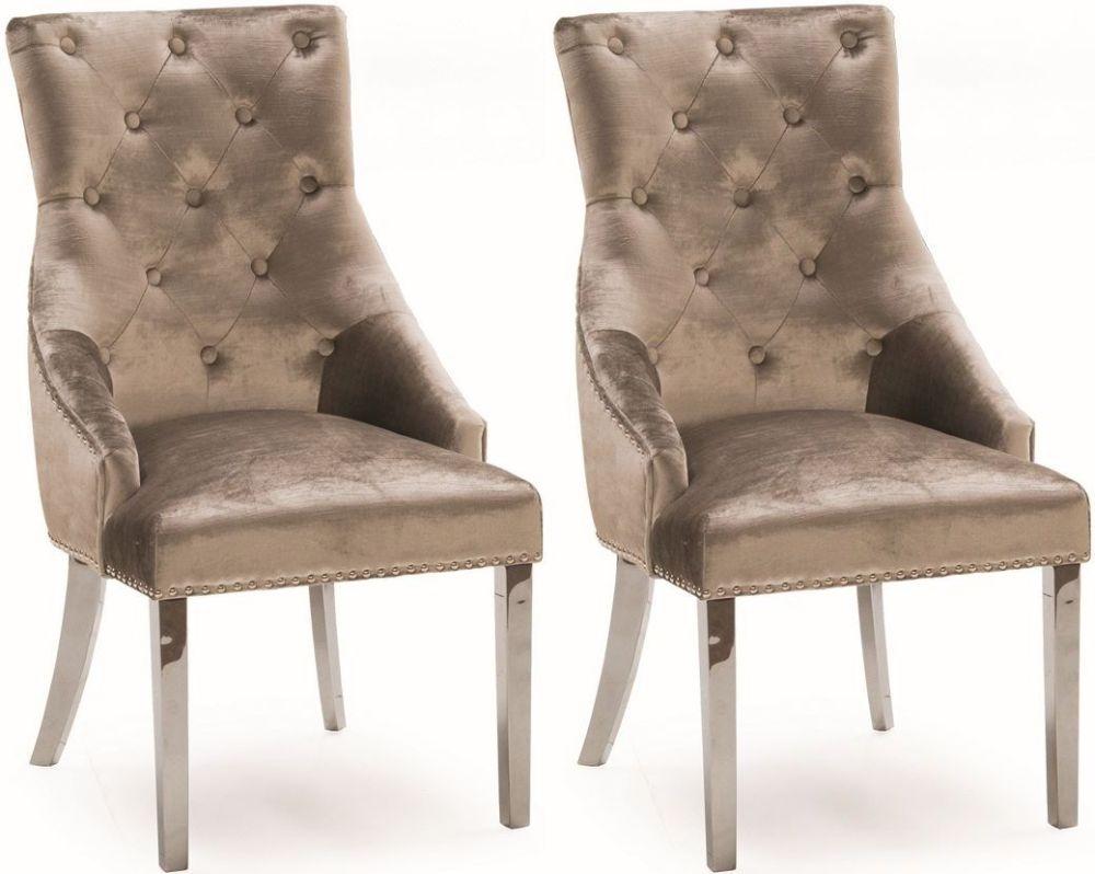 Vida Living Belvedere Knockerback Dining Chair (Pair) - Champagne Velvet
