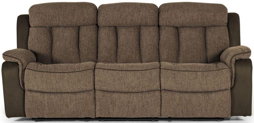Vida Living Brampton Brown Fabric 3 Seater Recliner Sofa