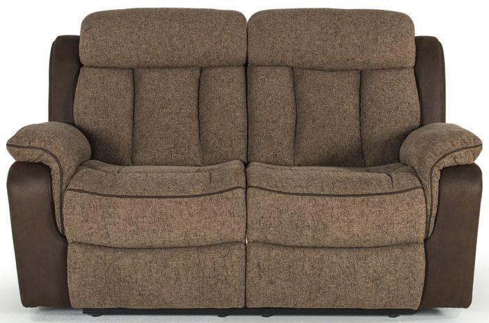 Vida Living Brampton Brown Fabric 2 Seater Recliner Sofa