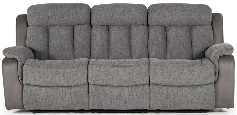 Vida Living Brampton Grey Fabric 3 Seater Recliner Sofa