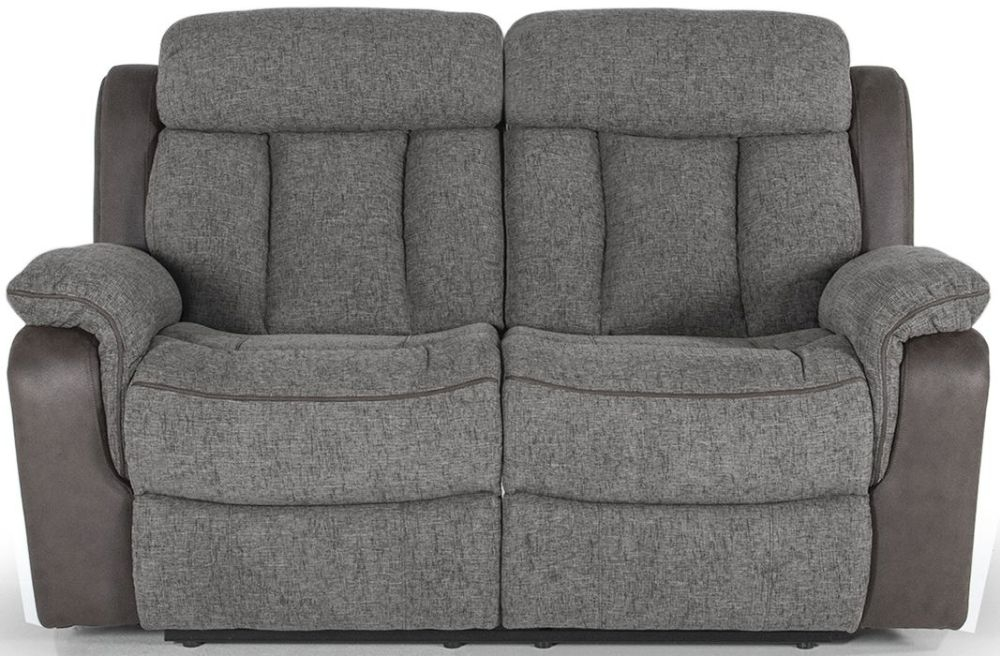 Vida Living Brampton 2 Seater Grey Fabric Recliner Sofa