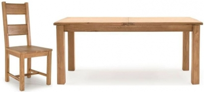 Vida Living Breeze Oak Rectangular Extending Dining Set with 4 Solid Seat Chairs - 140cm-180cm
