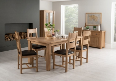 Vida Living Breeze Oak Large Extending Dining Table and 6 Brown Chairs