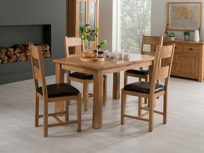 Vida Living Breeze Oak Medium Extending Dining Table and 4 Brown Chairs