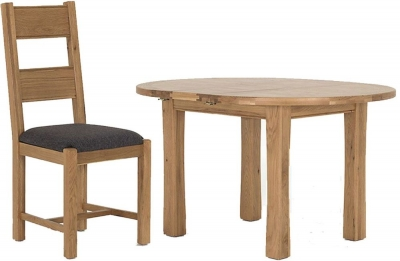 Vida Living Breeze Oak Dining Set - Round Extending with 4 Grey Dining Chairs