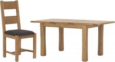 Vida Living Breeze Oak Dining Set - Small Extending with 4 Grey Dining Chairs