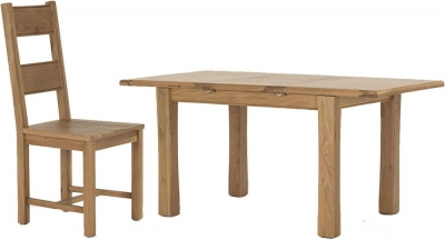Vida Living Breeze Oak Dining Set - Small Extending with 4 Solid Seat Dining Chairs