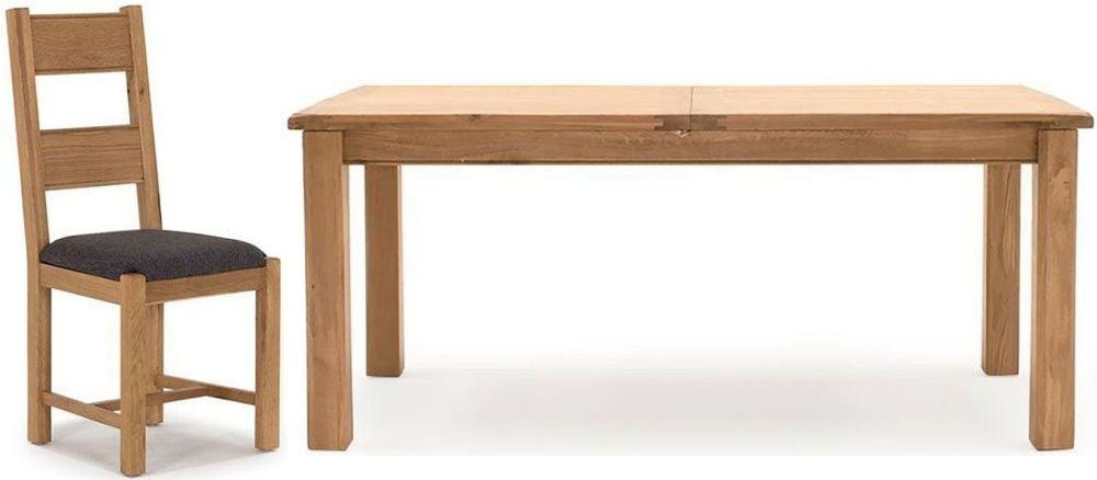 Vida Living Breeze Oak Rectangular Extending Dining Set with 6 Grey Chairs - 180cm-240cm