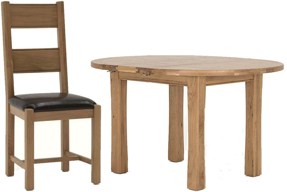 Vida Living Breeze Oak Round Extending Dining Set with 4 Chairs - 107cm-140cm