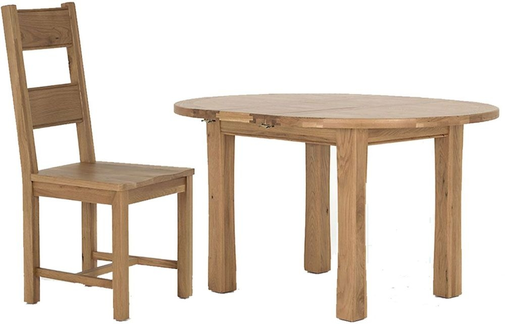 Vida Living Breeze Oak Dining Set - Round Extending with 4 Solid Seat Dining Chairs
