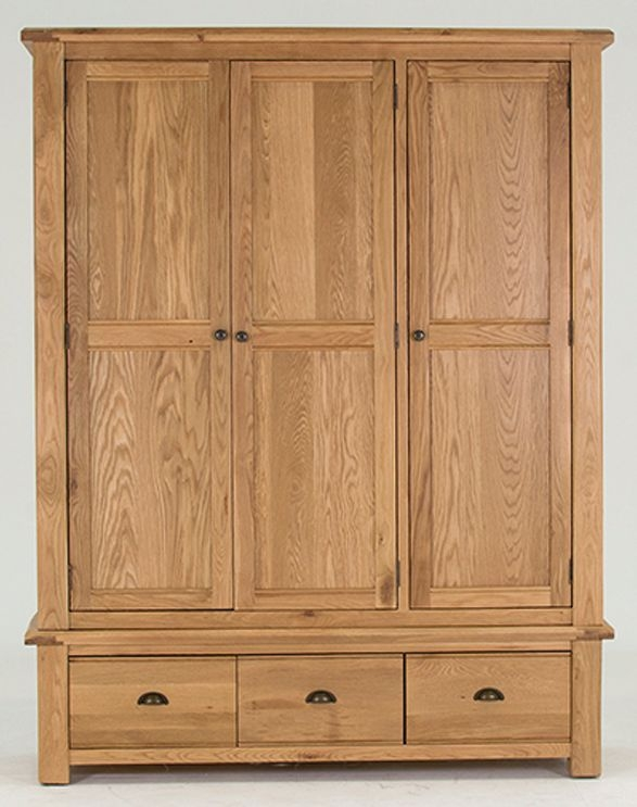 Vida Living Breeze Oak 3 Door 3 Drawer Triple Wardrobe