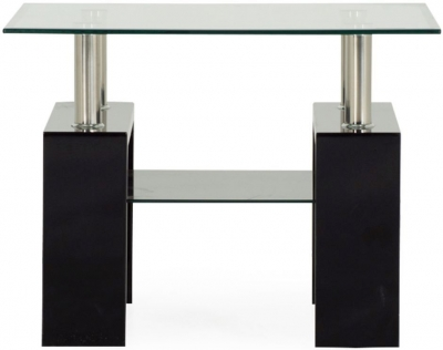 Vida Living Calico Glass Top Black End Table