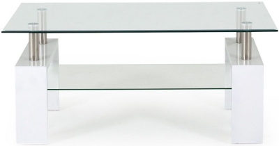 Vida Living Calico Coffee Table - Glass and White