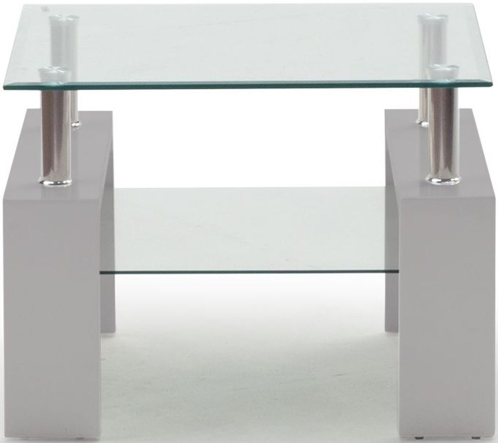 Vida Living Calico End Table - Glass and Grey